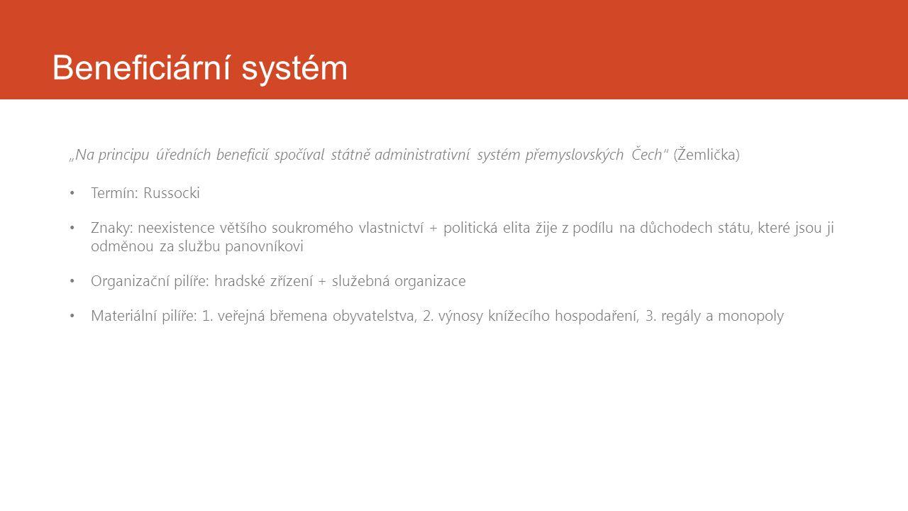 """Beneficiární systém """"Na principu úředních beneficií spočíval státně administrativní systém přemyslovských Čech"""" (Žemlička) Termín: Russocki Znaky: nee"""