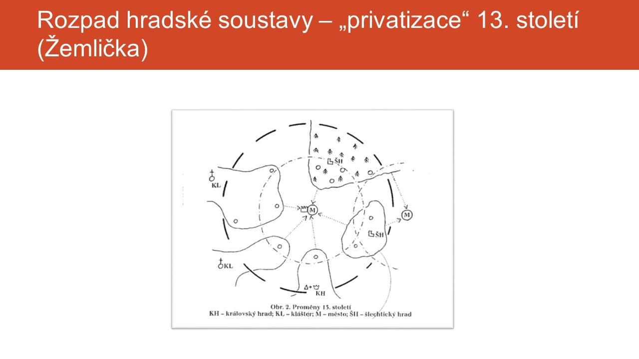 """Rozpad hradské soustavy – """"privatizace"""" 13. století (Žemlička)"""