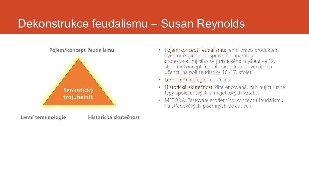 Dekonstrukce feudalismu – Susan Reynolds Pojem/koncept feudalismu: lenní právo produktem byrokratizujícího se správního aparátu a profesionalizujícího se juristického myšlení ve 12.
