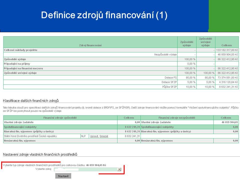 Definice zdrojů financování (1) 10
