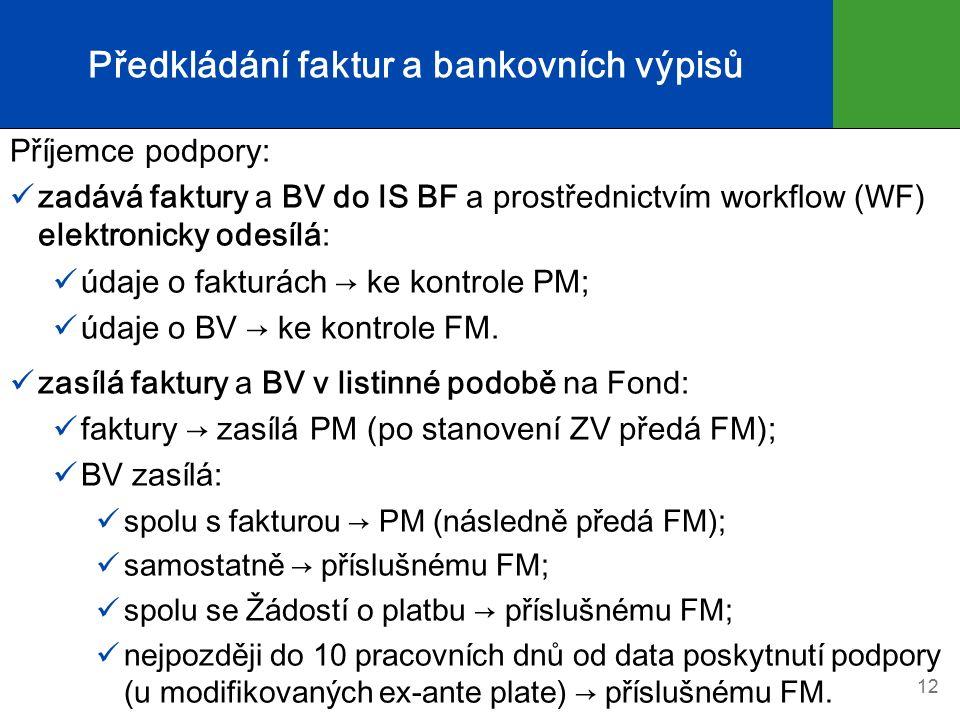 Předkládání faktur a bankovních výpisů Příjemce podpory: zadává faktury a BV do IS BF a prostřednictvím workflow (WF) elektronicky odesílá: údaje o fa
