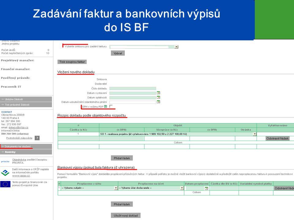 Zadávání faktur a bankovních výpisů do IS BF 17
