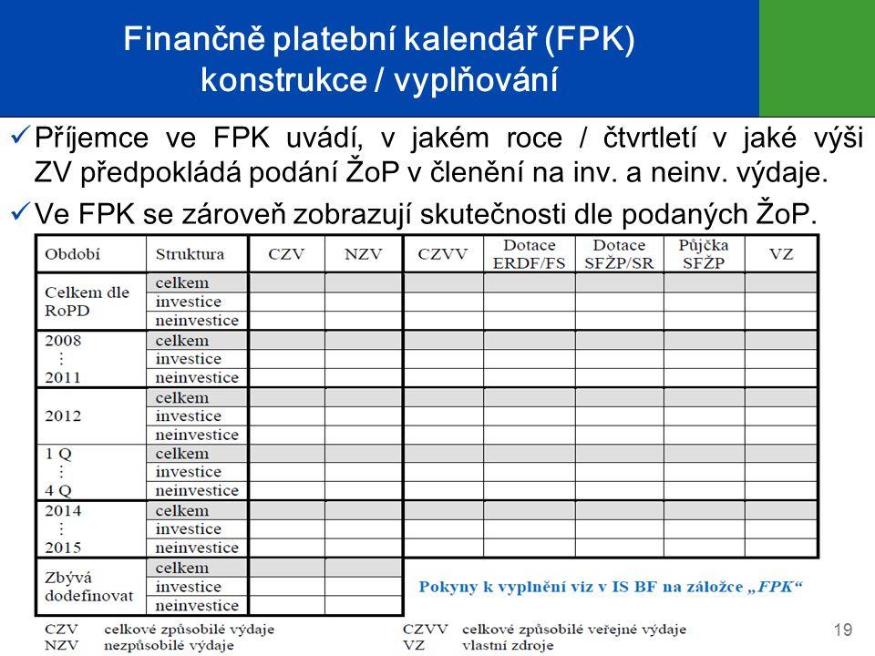 Finančně platební kalendář (FPK) konstrukce / vyplňování Příjemce ve FPK uvádí, v jakém roce / čtvrtletí v jaké výši ZV předpokládá podání ŽoP v členění na inv.