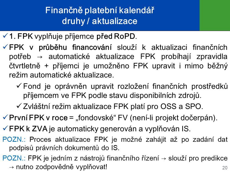 Finančně platební kalendář druhy / aktualizace 1. FPK vyplňuje příjemce před RoPD. FPK v průběhu financování slouží k aktualizaci finančních potřeb →