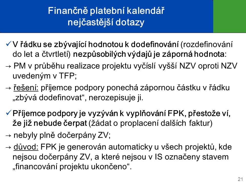 """Finančně platební kalendář nejčastější dotazy V řádku se zbývající hodnotou k dodefinování (rozdefinování do let a čtvrtletí) nezpůsobilých výdajů je záporná hodnota: → PM v průběhu realizace projektu vyčíslí vyšší NZV oproti NZV uvedeným v TFP; → řešení: příjemce podpory ponechá zápornou částku v řádku """"zbývá dodefinovat , nerozepisuje ji."""