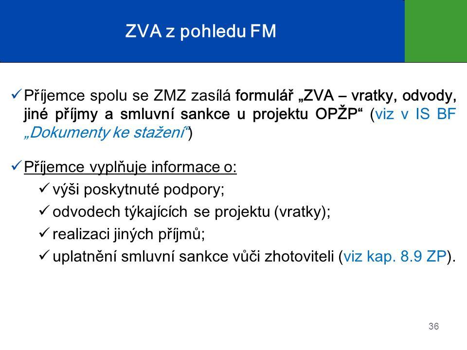 """ZVA z pohledu FM Příjemce spolu se ZMZ zasílá formulář """"ZVA – vratky, odvody, jiné příjmy a smluvní sankce u projektu OPŽP (viz v IS BF """"Dokumenty ke stažení ) Příjemce vyplňuje informace o: výši poskytnuté podpory; odvodech týkajících se projektu (vratky); realizaci jiných příjmů; uplatnění smluvní sankce vůči zhotoviteli (viz kap."""