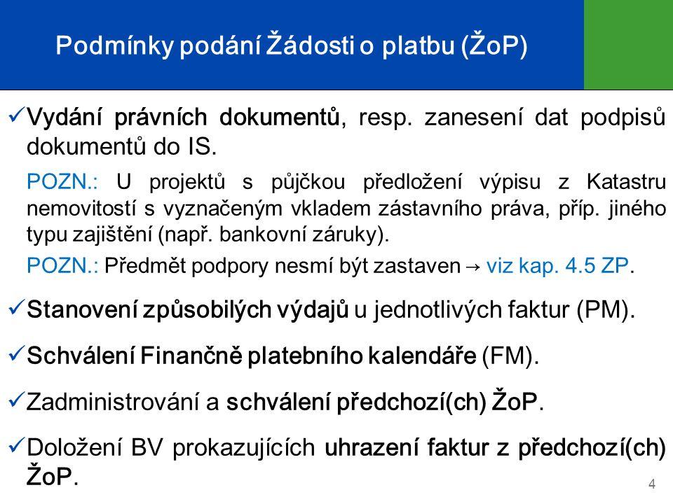 Podmínky podání Žádosti o platbu (ŽoP) Vydání právních dokumentů, resp.