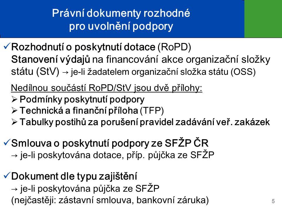 Právní dokumenty rozhodné pro uvolnění podpory Rozhodnutí o poskytnutí dotace (RoPD) Stanovení výdajů na financování akce organizační složky státu (StV) → je-li žadatelem organizační složka státu (OSS) Nedílnou součástí RoPD/StV jsou dvě přílohy:  Podmínky poskytnutí podpory  Technická a finanční příloha (TFP)  Tabulky postihů za porušení pravidel zadávání veř.