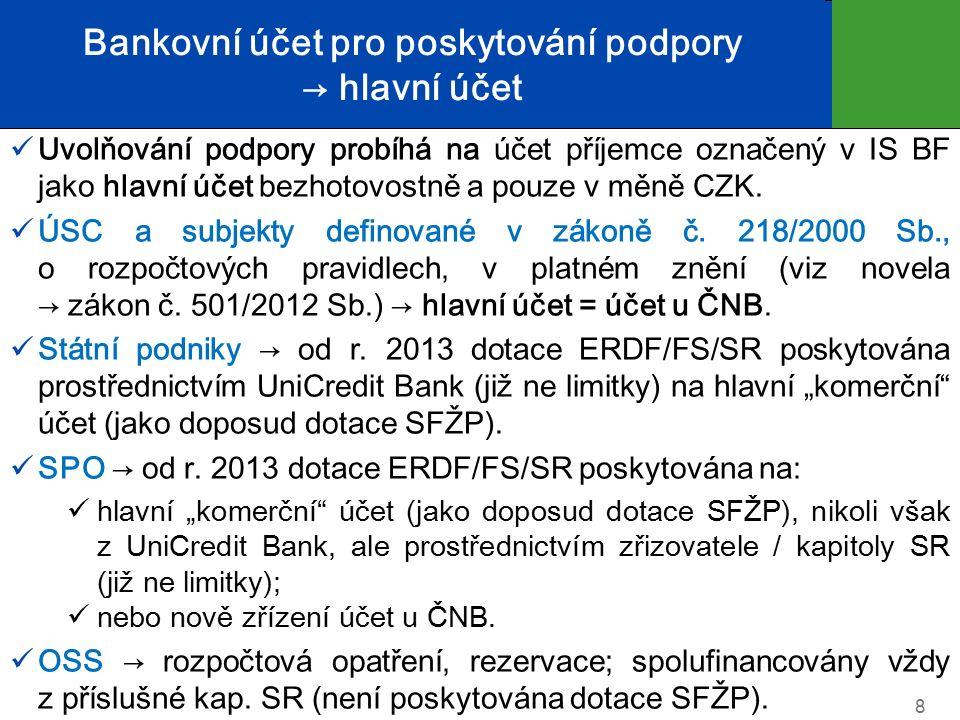 Bankovní účet pro poskytování podpory → hlavní účet Uvolňování podpory probíhá na účet příjemce označený v IS BF jako hlavní účet bezhotovostně a pouze v měně CZK.