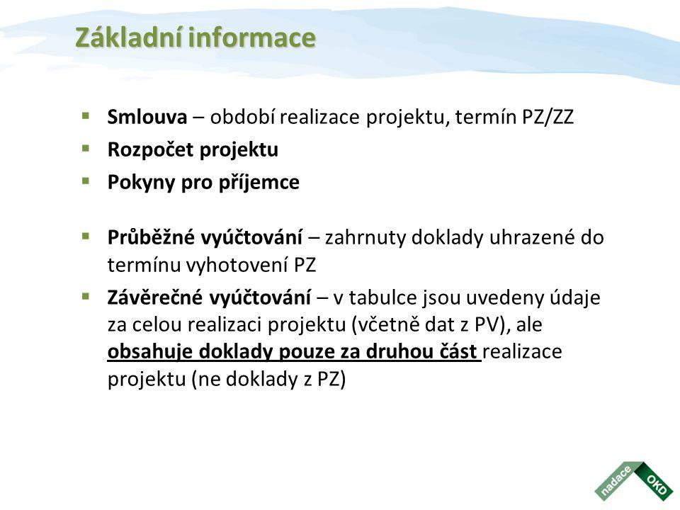 Základní informace  Smlouva – období realizace projektu, termín PZ/ZZ  Rozpočet projektu  Pokyny pro příjemce  Průběžné vyúčtování – zahrnuty doklady uhrazené do termínu vyhotovení PZ  Závěrečné vyúčtování – v tabulce jsou uvedeny údaje za celou realizaci projektu (včetně dat z PV), ale obsahuje doklady pouze za druhou část realizace projektu (ne doklady z PZ)
