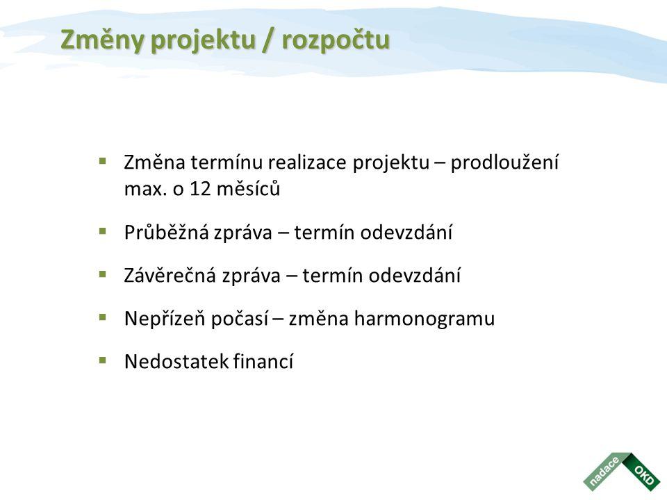 Změny projektu / rozpočtu  Změna termínu realizace projektu – prodloužení max.
