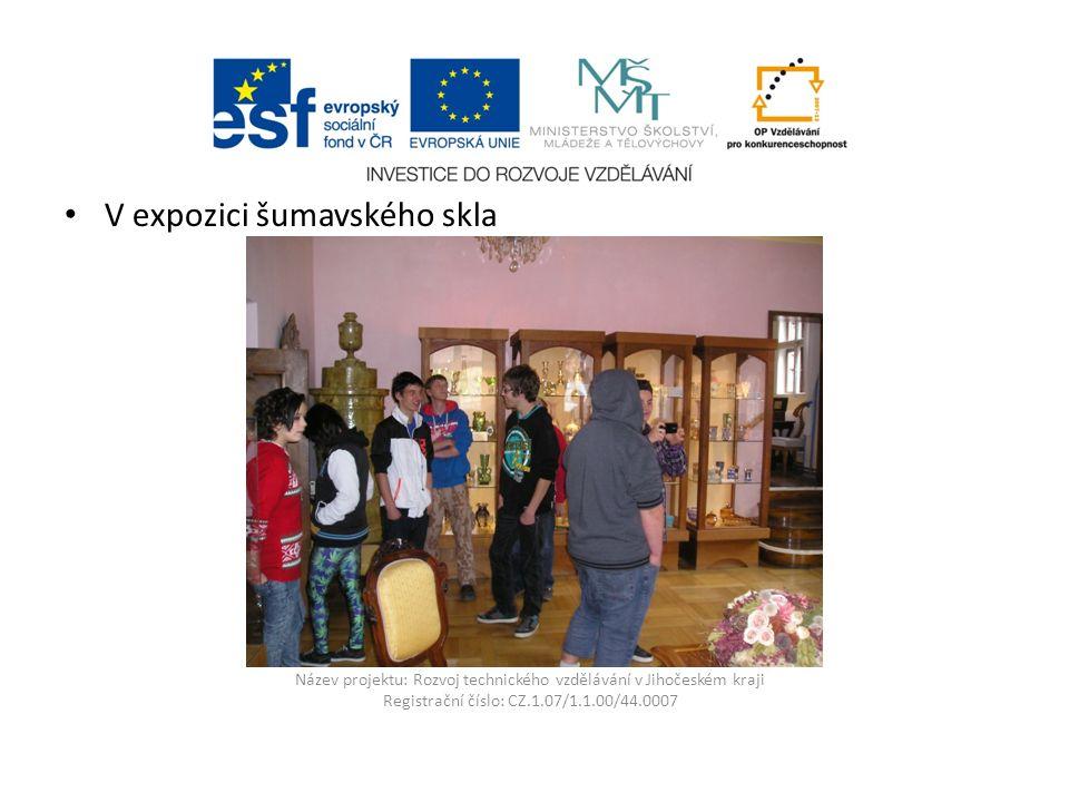 Název projektu: Rozvoj technického vzdělávání v Jihočeském kraji Registrační číslo: CZ.1.07/1.1.00/44.0007 V expozici šumavského skla