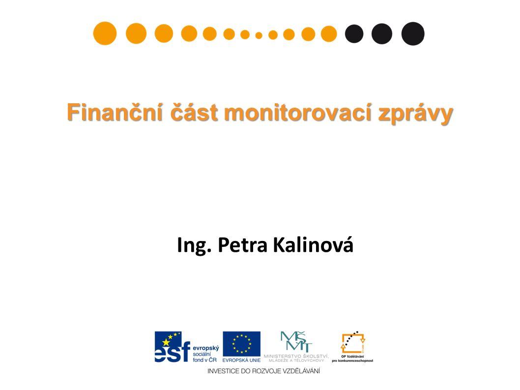 Ing. Petra Kalinová Finanční část monitorovací zprávy