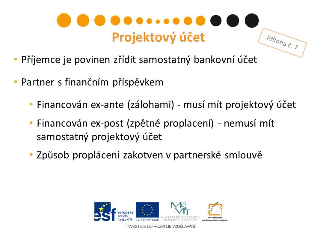 Příjemce je povinen zřídit samostatný bankovní účet Partner s finančním příspěvkem Financován ex-ante (zálohami) - musí mít projektový účet Financován ex-post (zpětné proplacení) - nemusí mít samostatný projektový účet Způsob proplácení zakotven v partnerské smlouvě Projektový účet Příloha č.