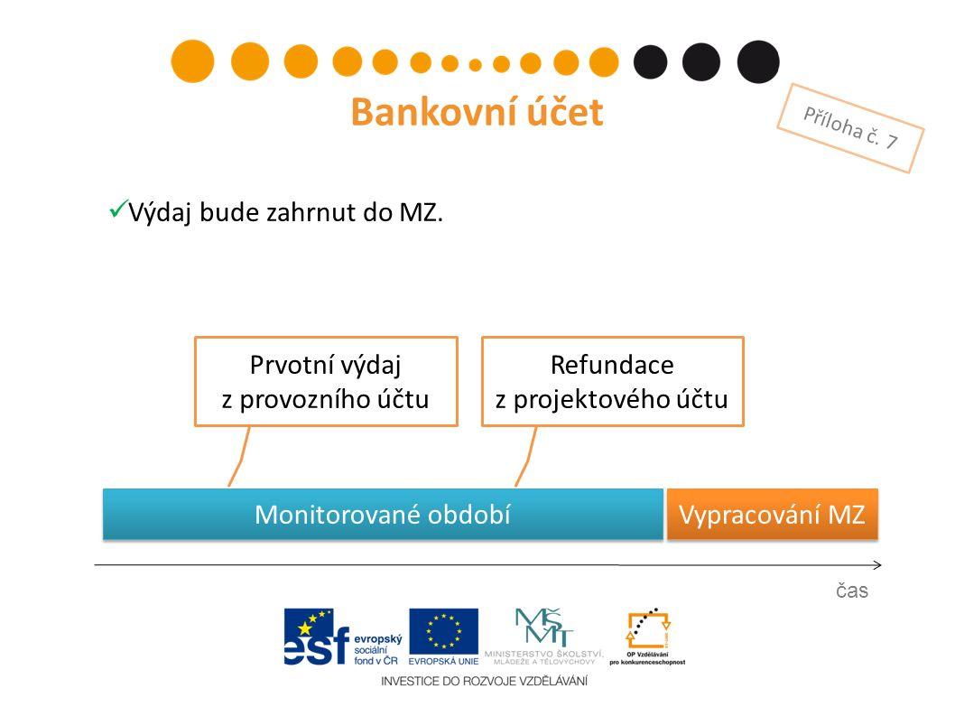 Monitorované období Vypracování MZ Prvotní výdaj z provozního účtu čas Bankovní účet Příloha č. 7 Refundace z projektového účtu Výdaj bude zahrnut do