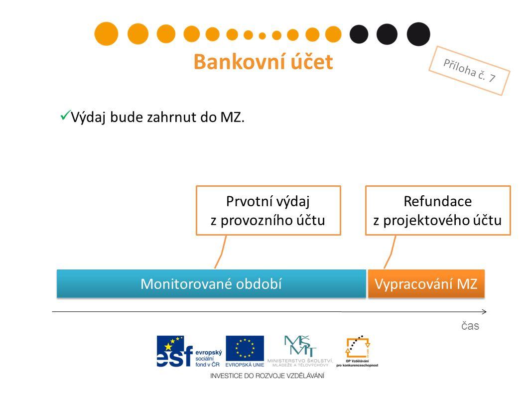 Prvotní výdaj z provozního účtu čas Bankovní účet Příloha č. 7 Refundace z projektového účtu Vypracování MZ Výdaj bude zahrnut do MZ. Monitorované obd