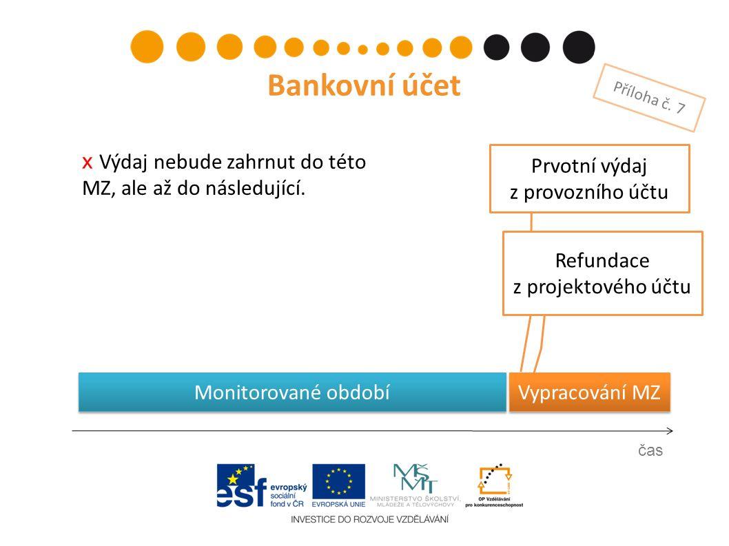 Prvotní výdaj z provozního účtu čas Bankovní účet Příloha č. 7 Refundace z projektového účtu Vypracování MZ х Výdaj nebude zahrnut do této MZ, ale až