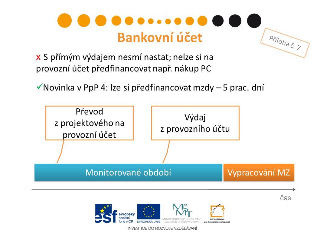 Vypracování MZ Výdaj z provozního účtu čas Bankovní účet Příloha č.