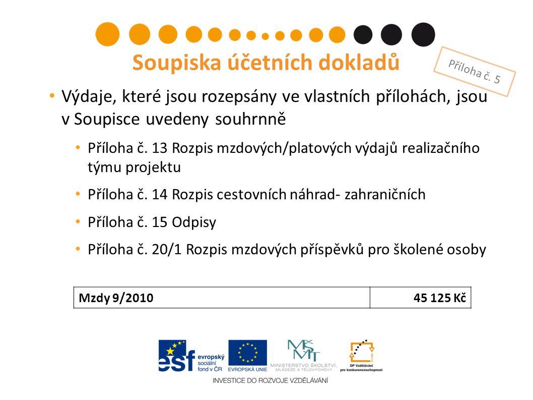 Výdaje, které jsou rozepsány ve vlastních přílohách, jsou v Soupisce uvedeny souhrnně Příloha č.