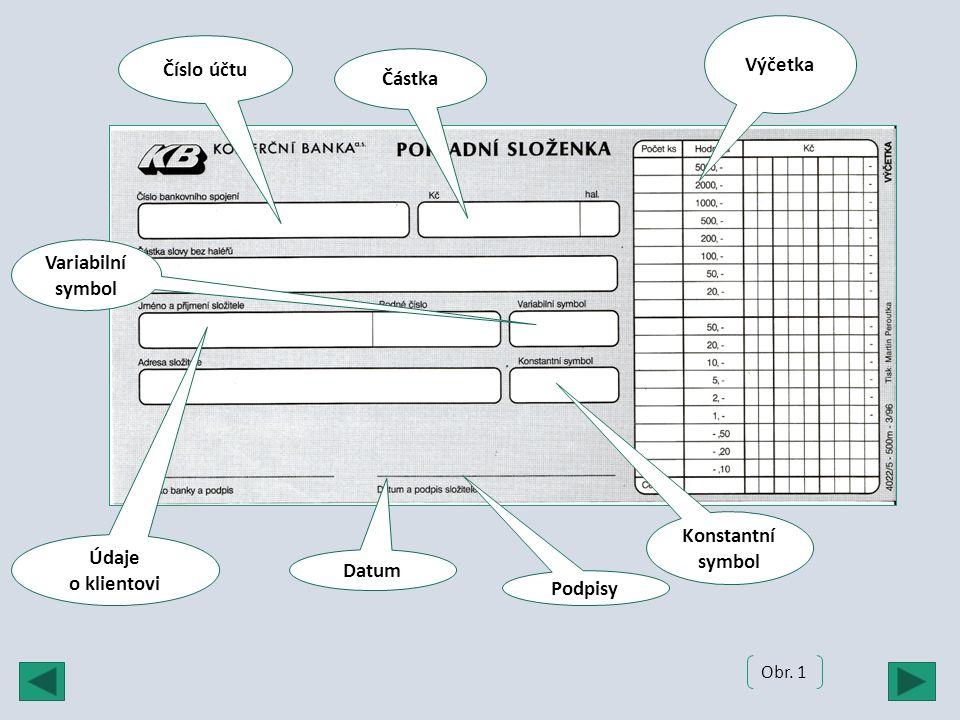Výčetka Číslo účtu Podpisy Částka Údaje o klientovi Variabilní symbol Konstantní symbol Datum Obr. 1