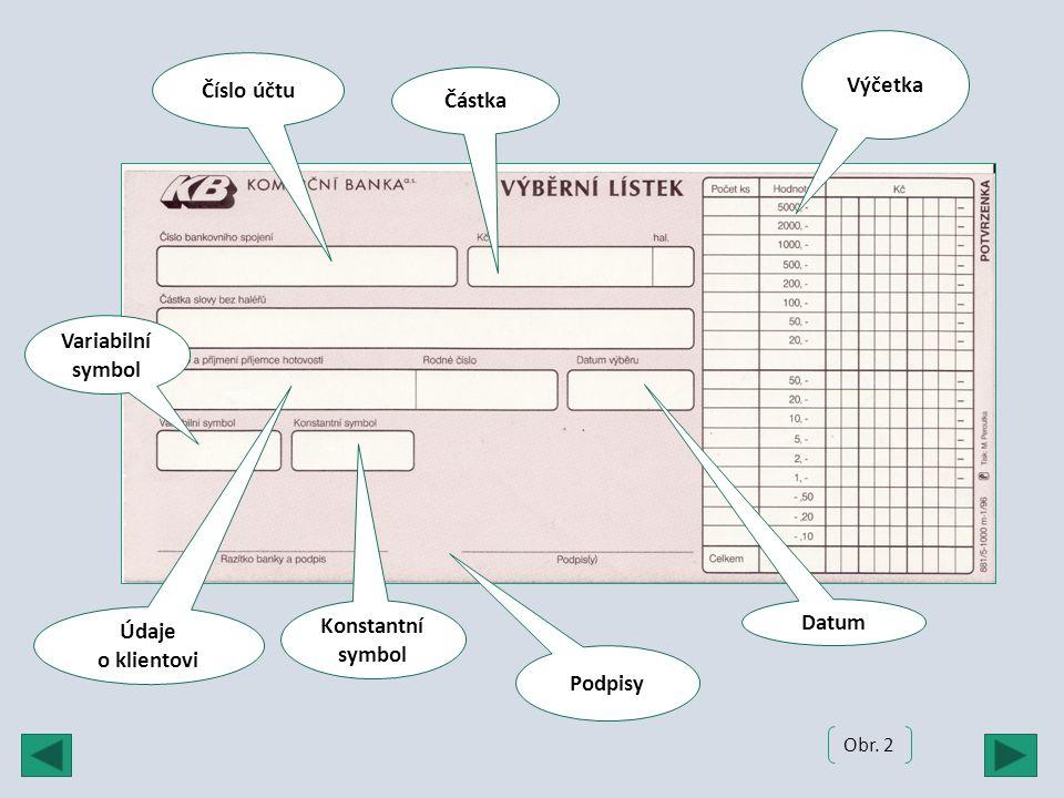 Výčetka Číslo účtu Podpisy Částka Údaje o klientovi Variabilní symbol Konstantní symbol Obr. 2 Datum