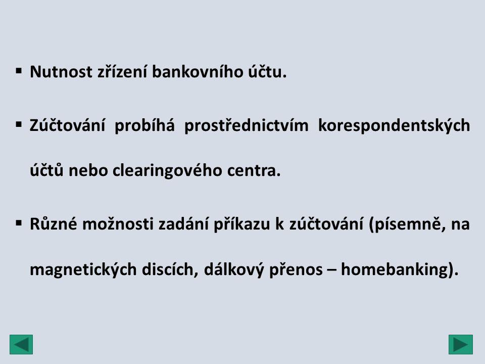  Nutnost zřízení bankovního účtu.  Zúčtování probíhá prostřednictvím korespondentských účtů nebo clearingového centra.  Různé možnosti zadání příka