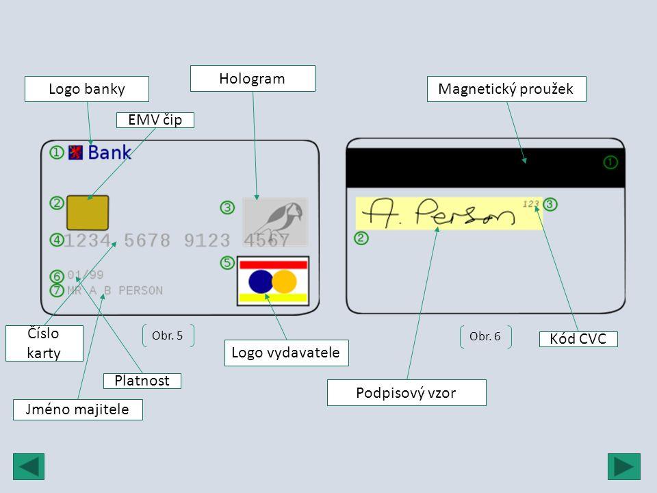 Obr. 5 Obr. 6 Logo banky EMV čip Hologram Číslo karty Platnost Logo vydavatele Jméno majitele Magnetický proužek Podpisový vzor Kód CVC