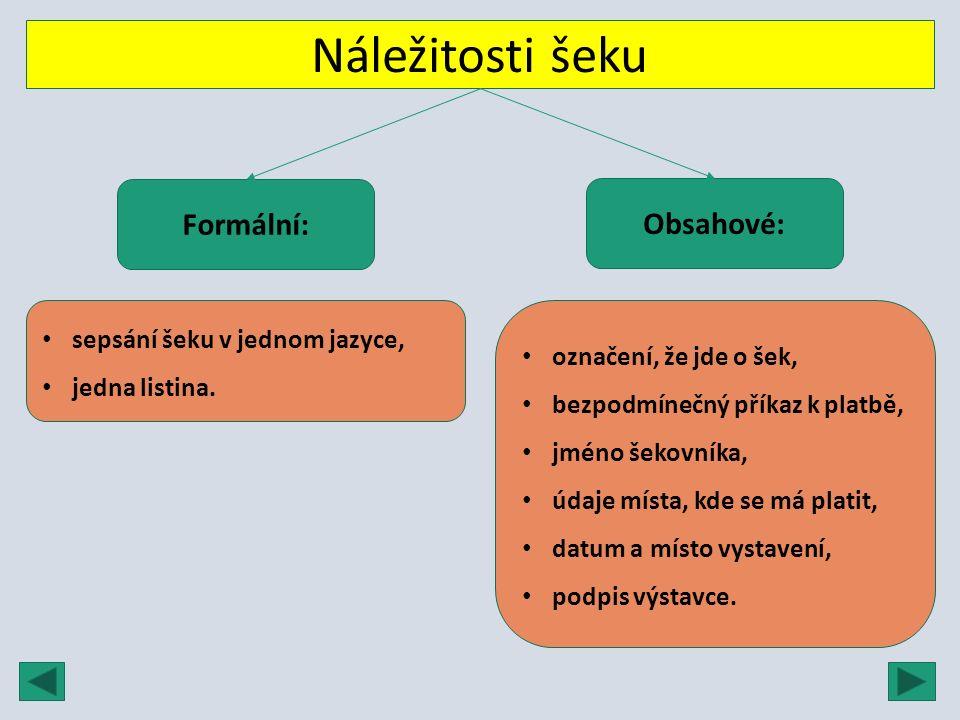 Náležitosti šeku Formální: Obsahové: sepsání šeku v jednom jazyce, jedna listina. označení, že jde o šek, bezpodmínečný příkaz k platbě, jméno šekovní