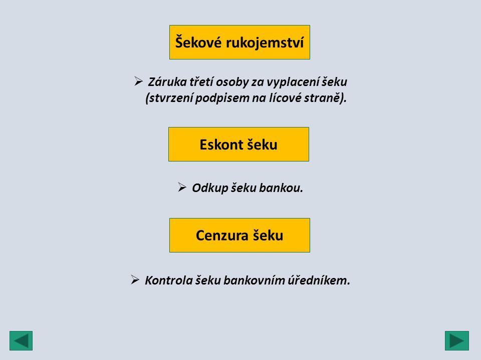 Šekové rukojemství  Záruka třetí osoby za vyplacení šeku (stvrzení podpisem na lícové straně). Eskont šeku  Odkup šeku bankou.  Kontrola šeku banko