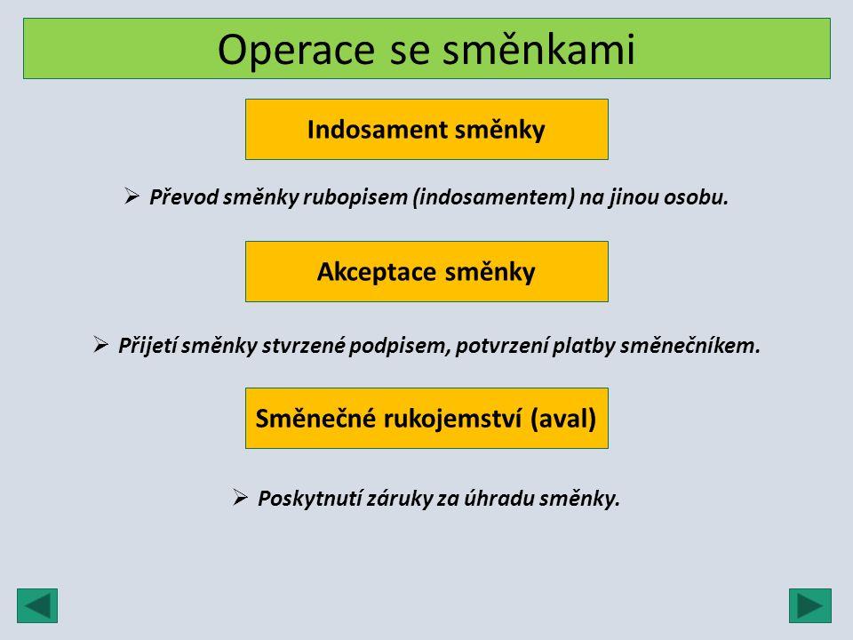 Operace se směnkami Indosament směnky  Převod směnky rubopisem (indosamentem) na jinou osobu. Akceptace směnky  Přijetí směnky stvrzené podpisem, po