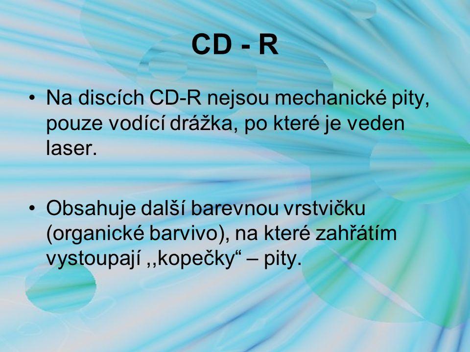 CD - R Na discích CD-R nejsou mechanické pity, pouze vodící drážka, po které je veden laser.