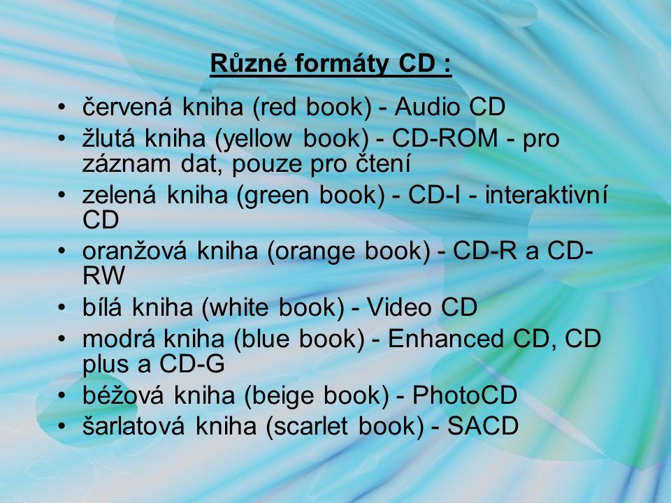 Různé formáty CD : červená kniha (red book) - Audio CD žlutá kniha (yellow book) - CD-ROM - pro záznam dat, pouze pro čtení zelená kniha (green book) - CD-I - interaktivní CD oranžová kniha (orange book) - CD-R a CD- RW bílá kniha (white book) - Video CD modrá kniha (blue book) - Enhanced CD, CD plus a CD-G béžová kniha (beige book) - PhotoCD šarlatová kniha (scarlet book) - SACD