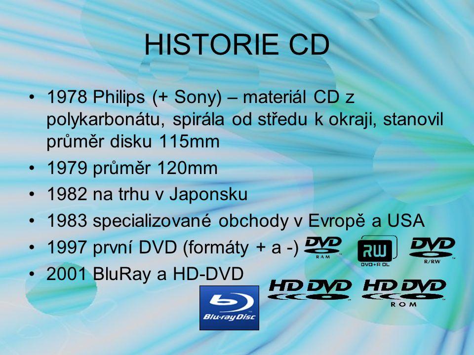 HISTORIE CD 1978 Philips (+ Sony) – materiál CD z polykarbonátu, spirála od středu k okraji, stanovil průměr disku 115mm 1979 průměr 120mm 1982 na trhu v Japonsku 1983 specializované obchody v Evropě a USA 1997 první DVD (formáty + a -) 2001 BluRay a HD-DVD