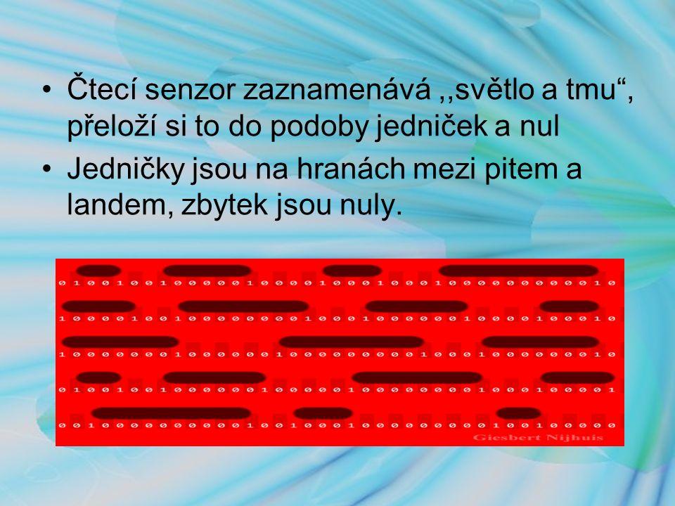 Čtecí senzor zaznamenává,,světlo a tmu , přeloží si to do podoby jedniček a nul Jedničky jsou na hranách mezi pitem a landem, zbytek jsou nuly.