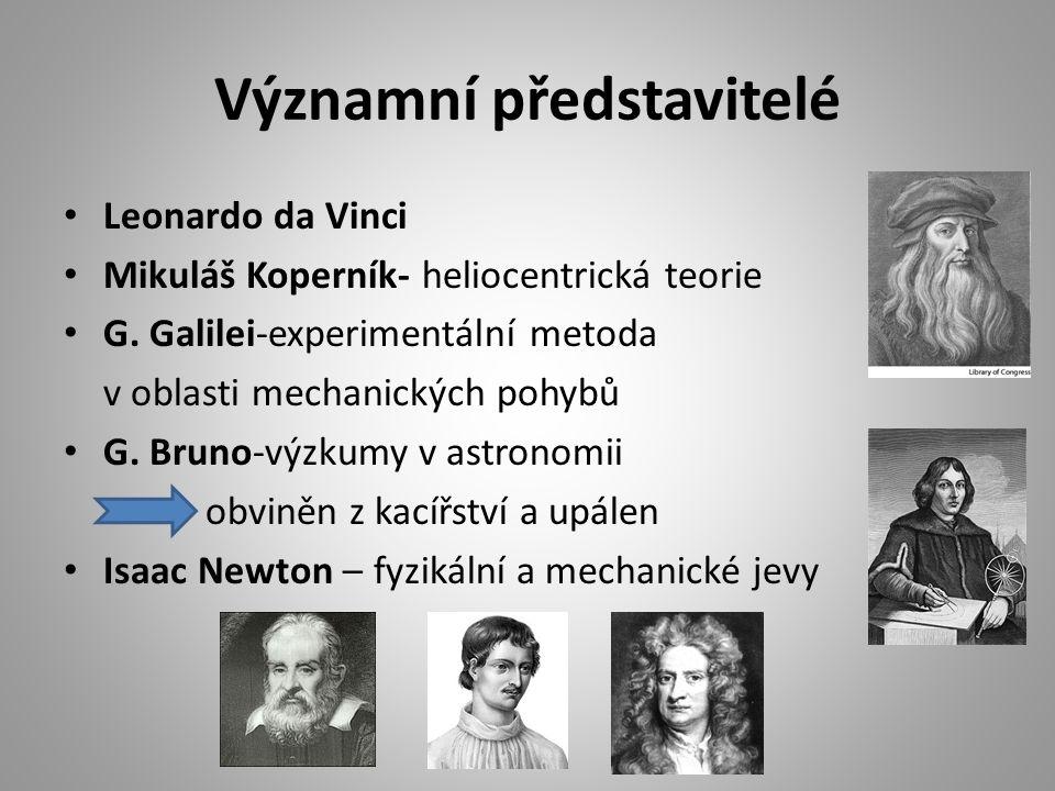 Významní představitelé Leonardo da Vinci Mikuláš Koperník- heliocentrická teorie G.