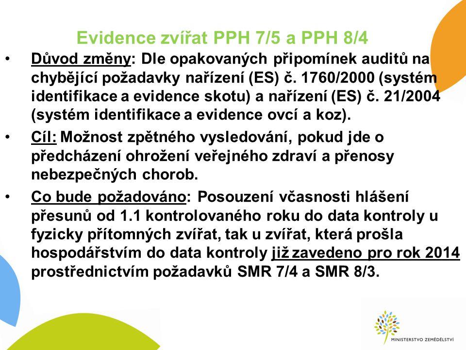 Evidence zvířat PPH 7/5 a PPH 8/4 Důvod změny: Dle opakovaných připomínek auditů na chybějící požadavky nařízení (ES) č.