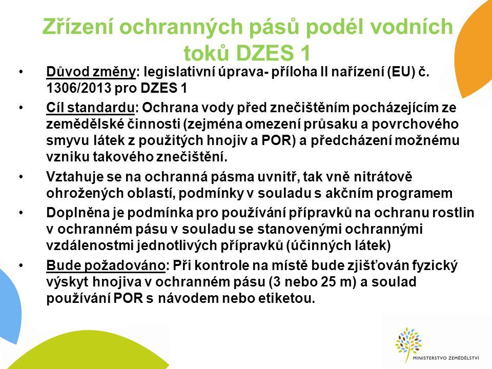 Zřízení ochranných pásů podél vodních toků DZES 1 Důvod změny: legislativní úprava- příloha II nařízení (EU) č.