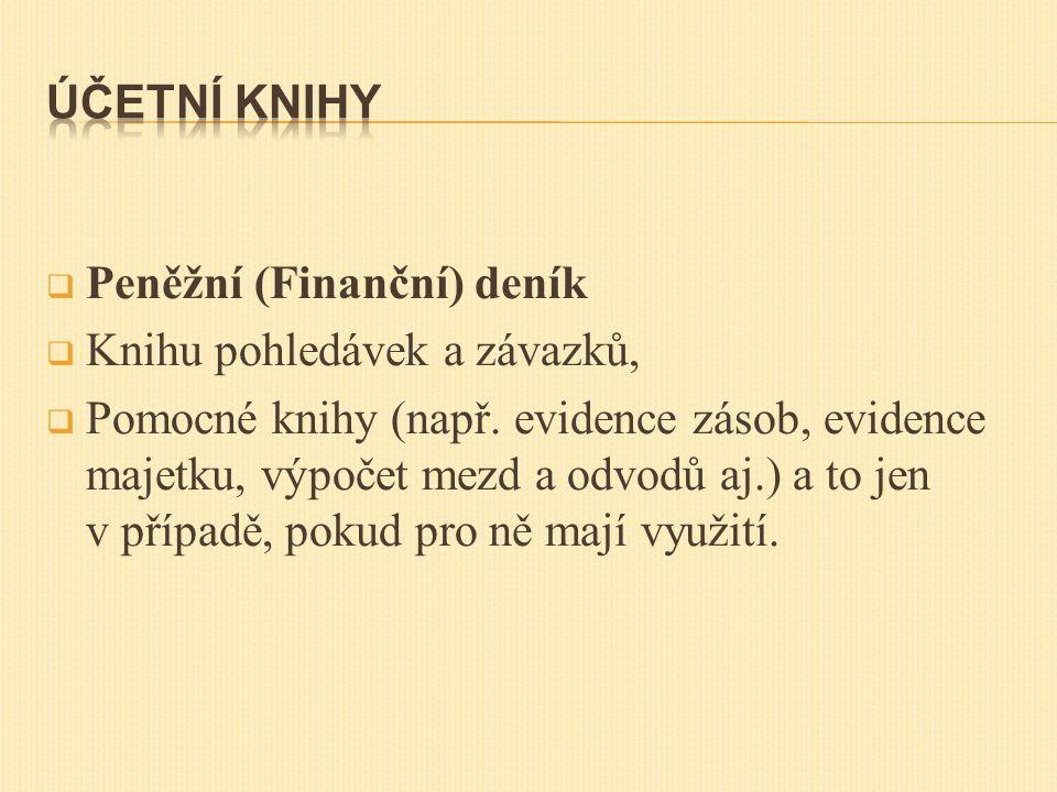  Peněžní (Finanční) deník  Knihu pohledávek a závazků,  Pomocné knihy (např.