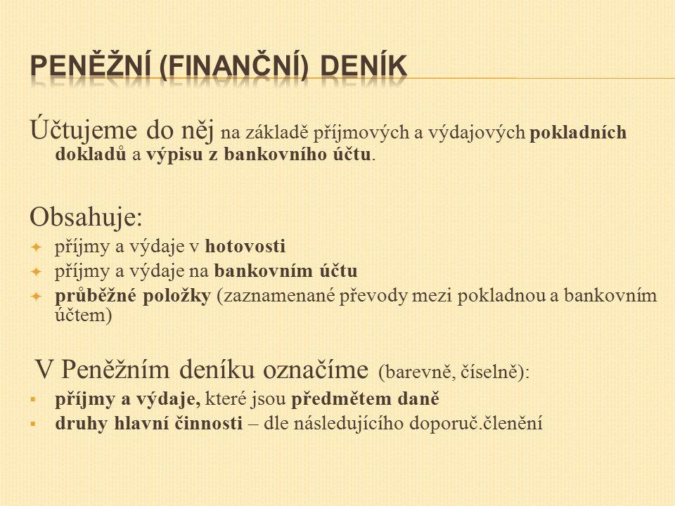 Účtujeme do něj na základě příjmových a výdajových pokladních dokladů a výpisu z bankovního účtu.