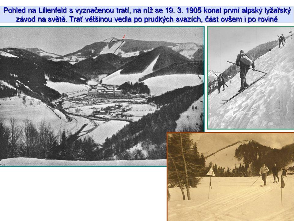 Pohled na Lilienfeld s vyznačenou tratí, na níž se 19. 3. 1905 konal první alpský lyžařský závod na světě. Trať většinou vedla po prudkých svazích, čá