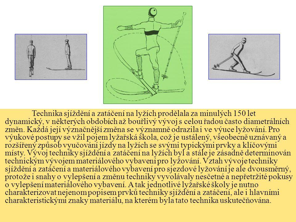 Technika sjíždění a zatáčení na lyžích prodělala za minulých 150 let dynamický, v některých obdobích až bouřlivý vývoj s celou řadou často diametrální