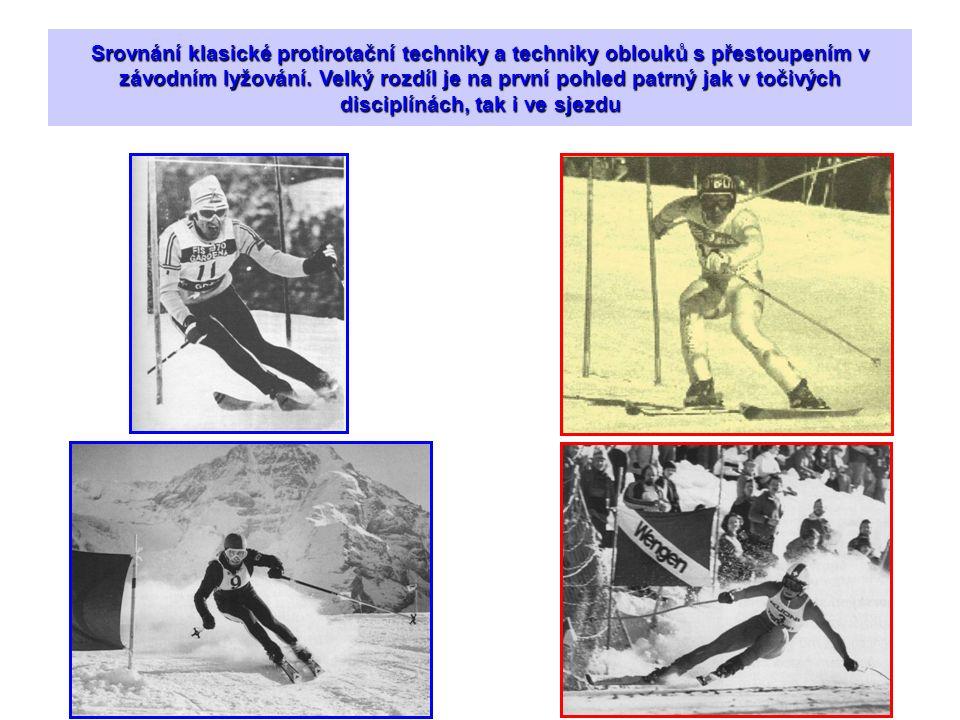 Srovnání klasické protirotační techniky a techniky oblouků s přestoupením v závodním lyžování. Velký rozdíl je na první pohled patrný jak v točivých d