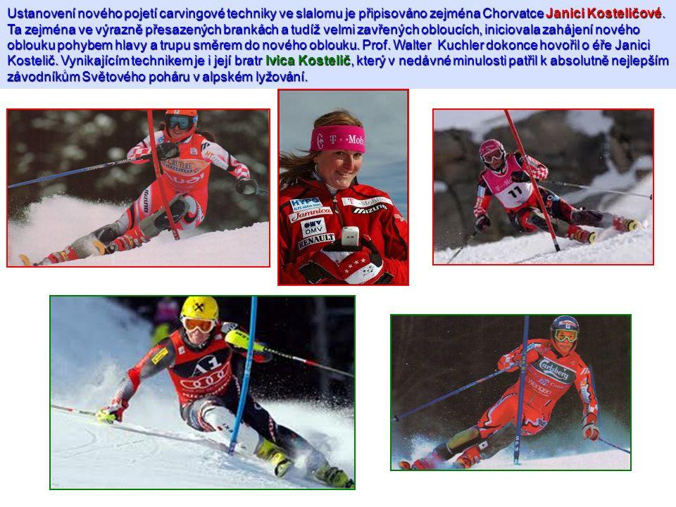 Ustanovení nového pojetí carvingové techniky ve slalomu je připisováno zejména Chorvatce Janici Kosteličové. Ta zejména ve výrazně přesazených brankác