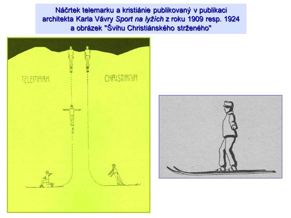 Náčrtek telemarku a kristiánie publikovaný v publikaci architekta Karla Vávry Sport na lyžích z roku 1909 resp. 1924 a obrázek