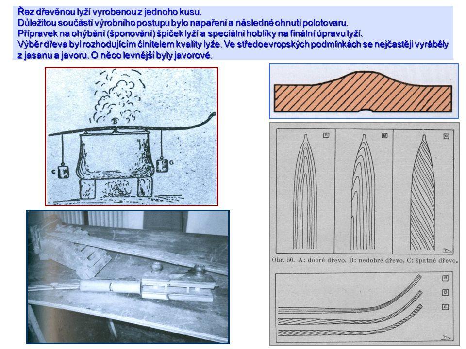 Řez dřevěnou lyží vyrobenou z jednoho kusu. Důležitou součástí výrobního postupu bylo napaření a následné ohnutí polotovaru. Přípravek na ohýbání (špo