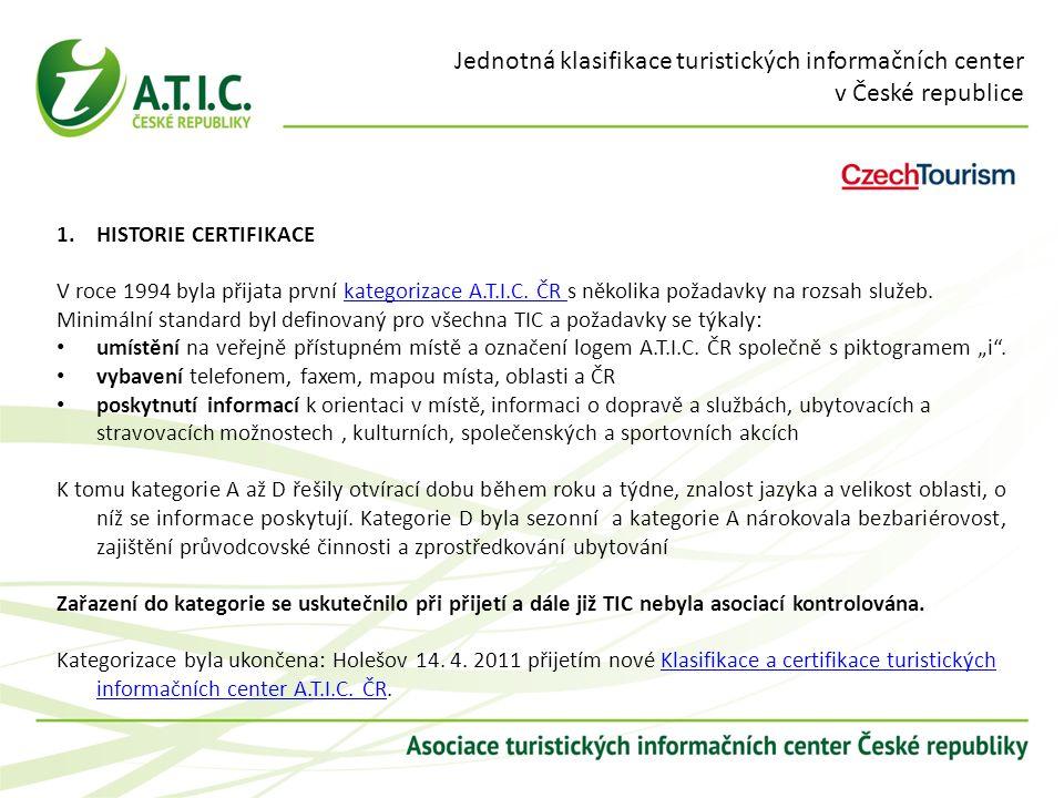 Jednotná klasifikace turistických informačních center v České republice 1.HISTORIE CERTIFIKACE V roce 1994 byla přijata první kategorizace A.T.I.C. ČR