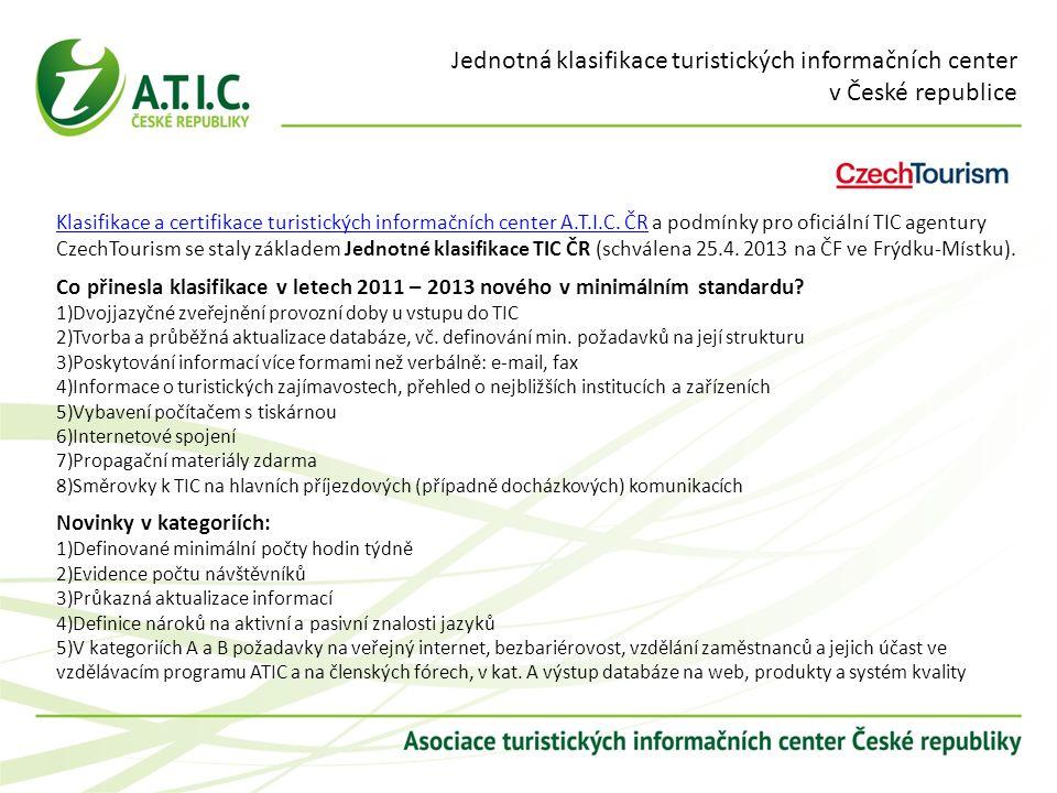 Jednotná klasifikace turistických informačních center v České republice Klasifikace a certifikace turistických informačních center A.T.I.C. ČRKlasifik