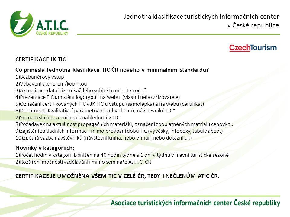 Jednotná klasifikace turistických informačních center v České republice CERTIFIKACE JK TIC Co přinesla Jednotná klasifikace TIC ČR nového v minimálním standardu.