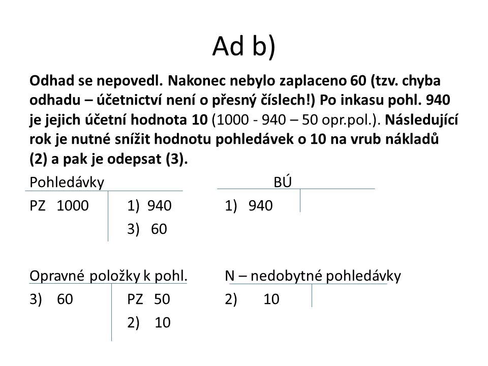 Ad b) Odhad se nepovedl. Nakonec nebylo zaplaceno 60 (tzv.