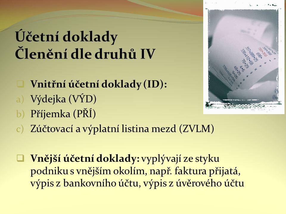  Vnitřní účetní doklady (ID): a) Výdejka (VÝD) b) Příjemka (PŘÍ) c) Zúčtovací a výplatní listina mezd (ZVLM)  Vnější účetní doklady: vyplývají ze styku podniku s vnějším okolím, např.